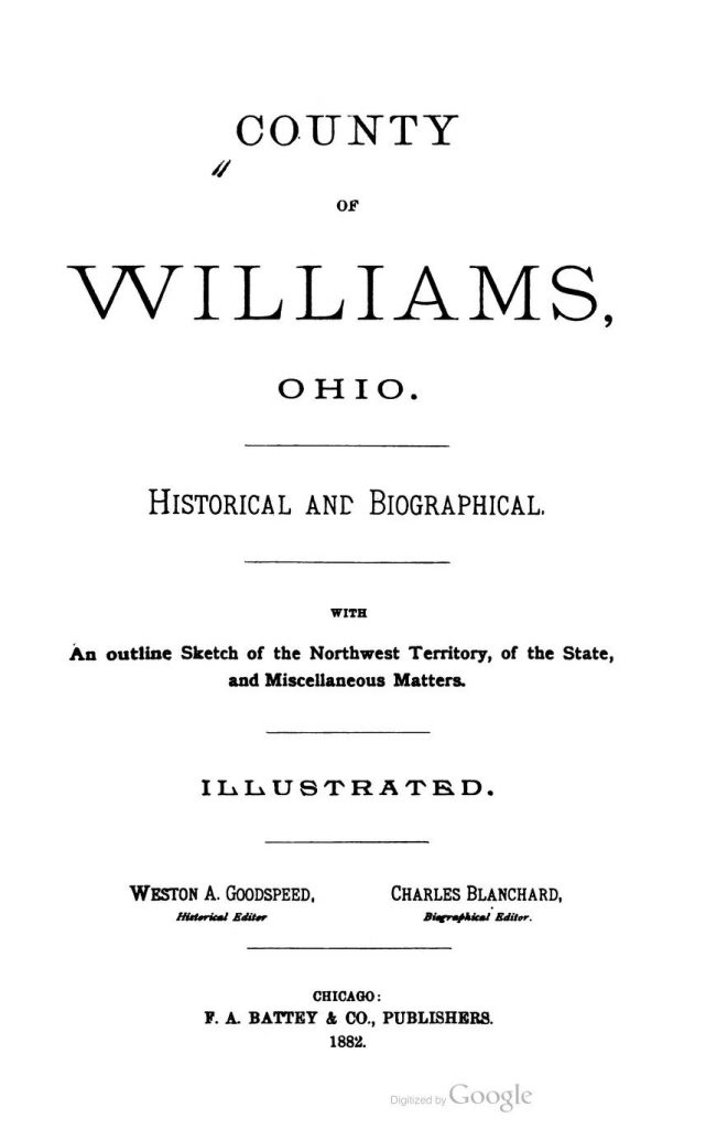 County of Williams, Ohio - Title Page